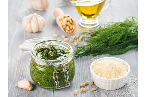 Homemade dill pesto sauce ingredients
