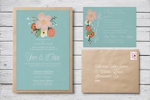 Floral Wedding Invitation & RSVP