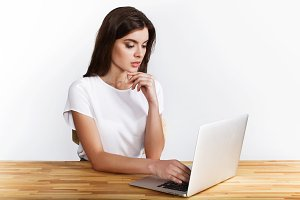 Elegant woman working with a laptop