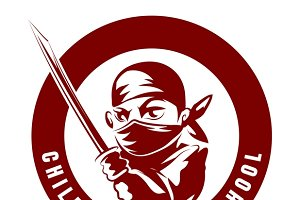 Children ninja school emblem