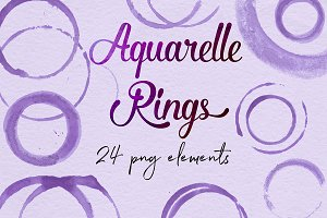 Purple Watercolor Design Elements