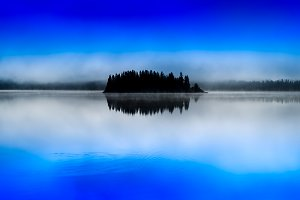 Norway centered island fog lake