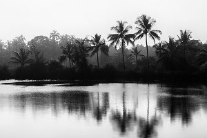 Horizontal black and white Indian landscape bokeh vignette backg