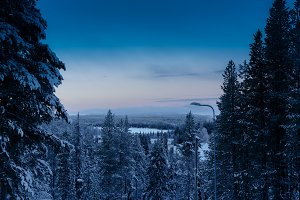 Morning sunrise at Finnish forest