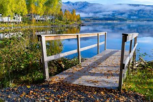 Scandinavian pier lake fog fjord