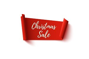 Christmas Sale banner. Red abstract ribbon on white.