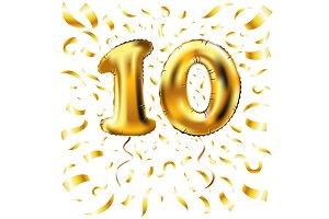 gold ten metallic balloon vector