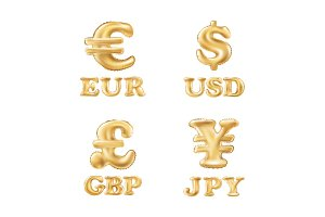 gold Dollar, Euro, Pound and Yen