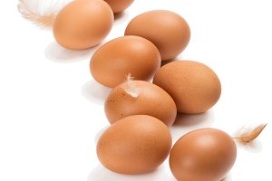 Eight chicken eggs