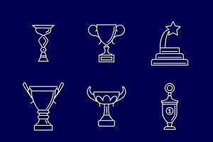 Trophy cup thin line icons