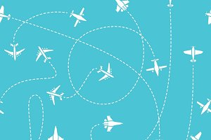 Plane travel seamless pattern