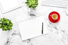 Working desk Flat lay Notebook