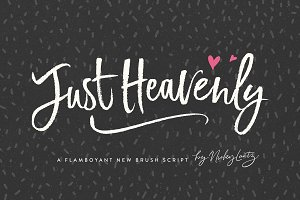 Just Heavenly Brush Font & Extras