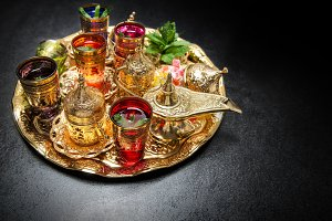 Golden tea table decoration