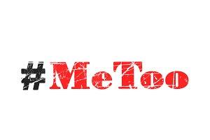 Hashtag Metoo on white background