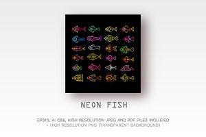 Neon Fish Icons