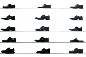Men classic shoes on shelves