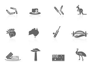 Australia travel icons black set