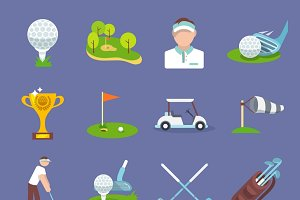 Golf sport icon flat set