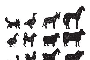 Domestic farm animals icons set
