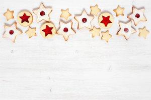 Background with Linzer cookies