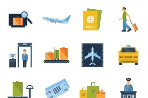 Airport icons flat set
