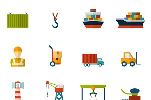 Seaport flat icon set