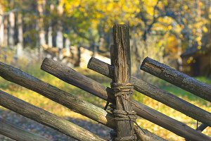 Wooden fence in the autumn forest