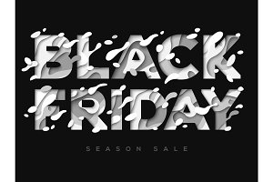 Black Friday Sale Poster with abstract white paper cut shapes