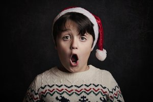 surprised child on christmas