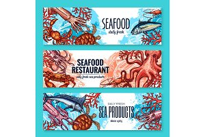 Vector banners sketch seafood fish for restaurant