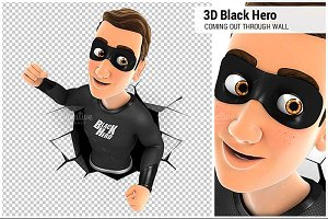 3D Black Hero Coming Out