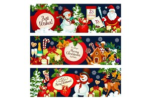Merry Christmas wish vector greeting banners