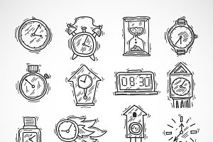 Clock sketch icons set