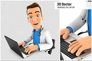 3D Doctor Working on Laptop