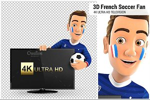 3D French Soccer Fan with Television