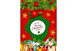 Christmas gift and Xmas tree garland greeting card