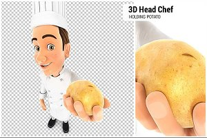 3D Head Chef Holding a Potato