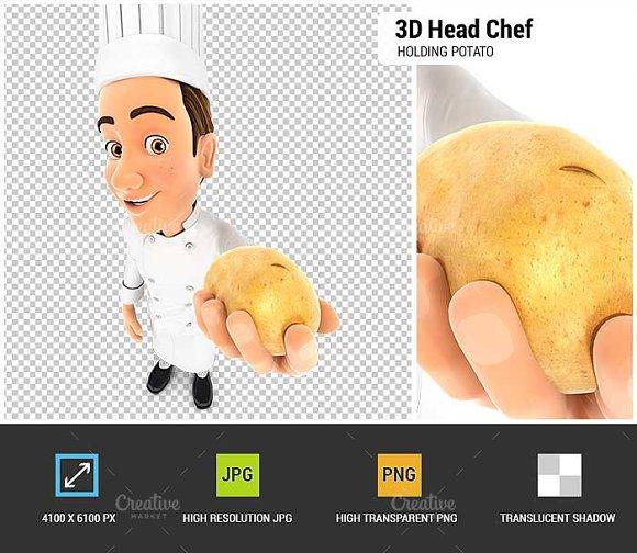 3D Head Chef Holding A Potato