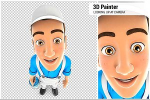 3D Painter Looking Up at Camera