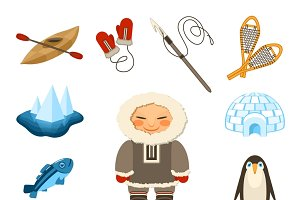 Chukchi and north animals icons set