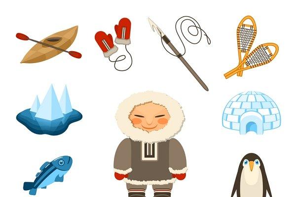 Chukchi and north animals icons set