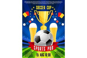 Vector poster for soccer football sports pub