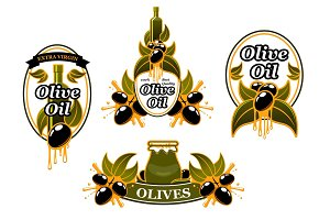 Vector icon of olives for organic olive oil