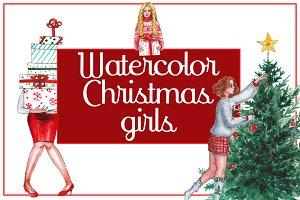 Watercolor Christmas girls