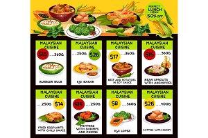 Vector menu for Malaysian cuisine restaurant