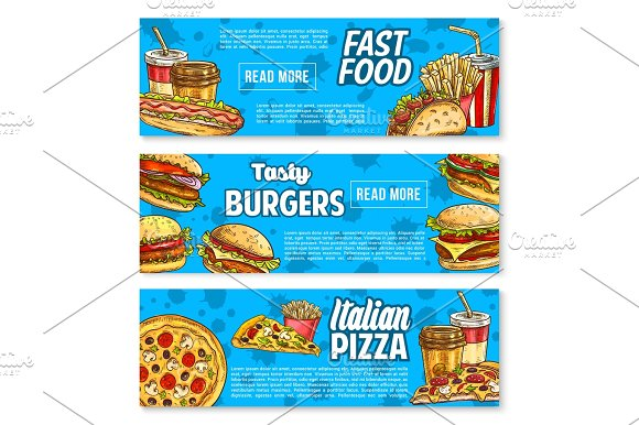 Vector Fast Food Burger And Sandwich Sketch Banner
