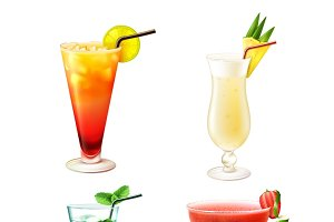Cocktail alcohol drinks icons set