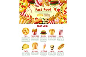 Vector fast food burgers and sandwiches poster
