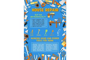 Vector poster of house repair handyman work tools